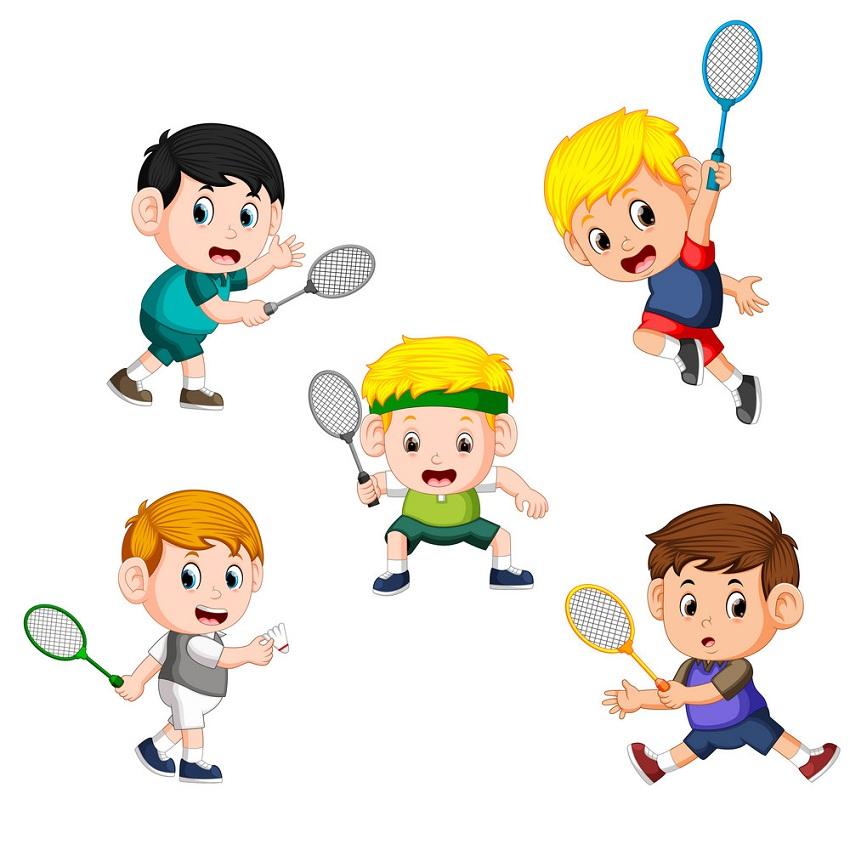 set of children playing badminton