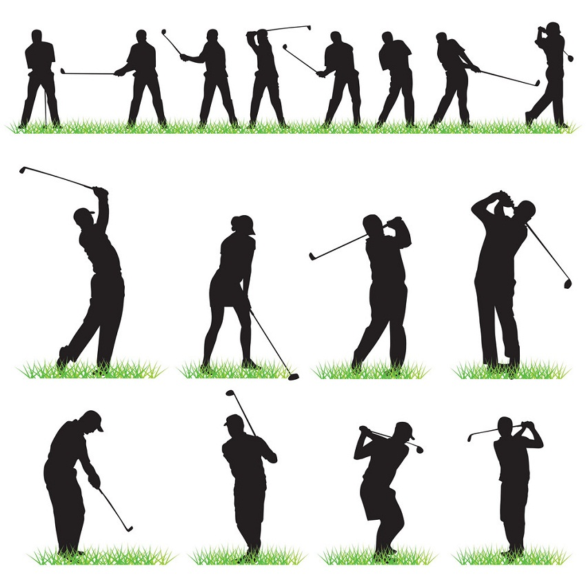set of golf players icons