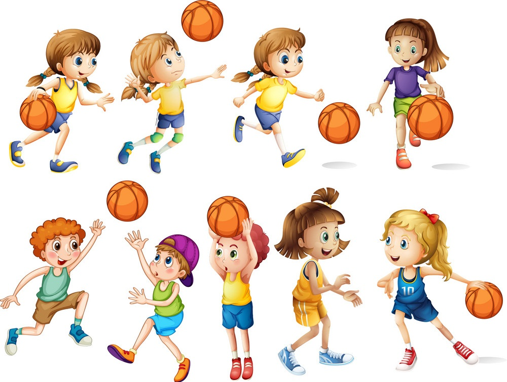 set of kids playing basketball
