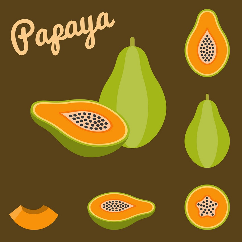 set of papayas fruits on brown background