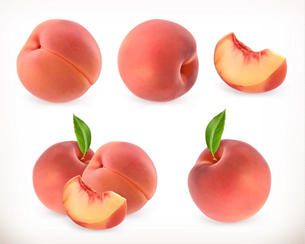 set of sweet peaches
