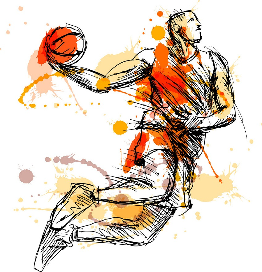 sketch basketball player