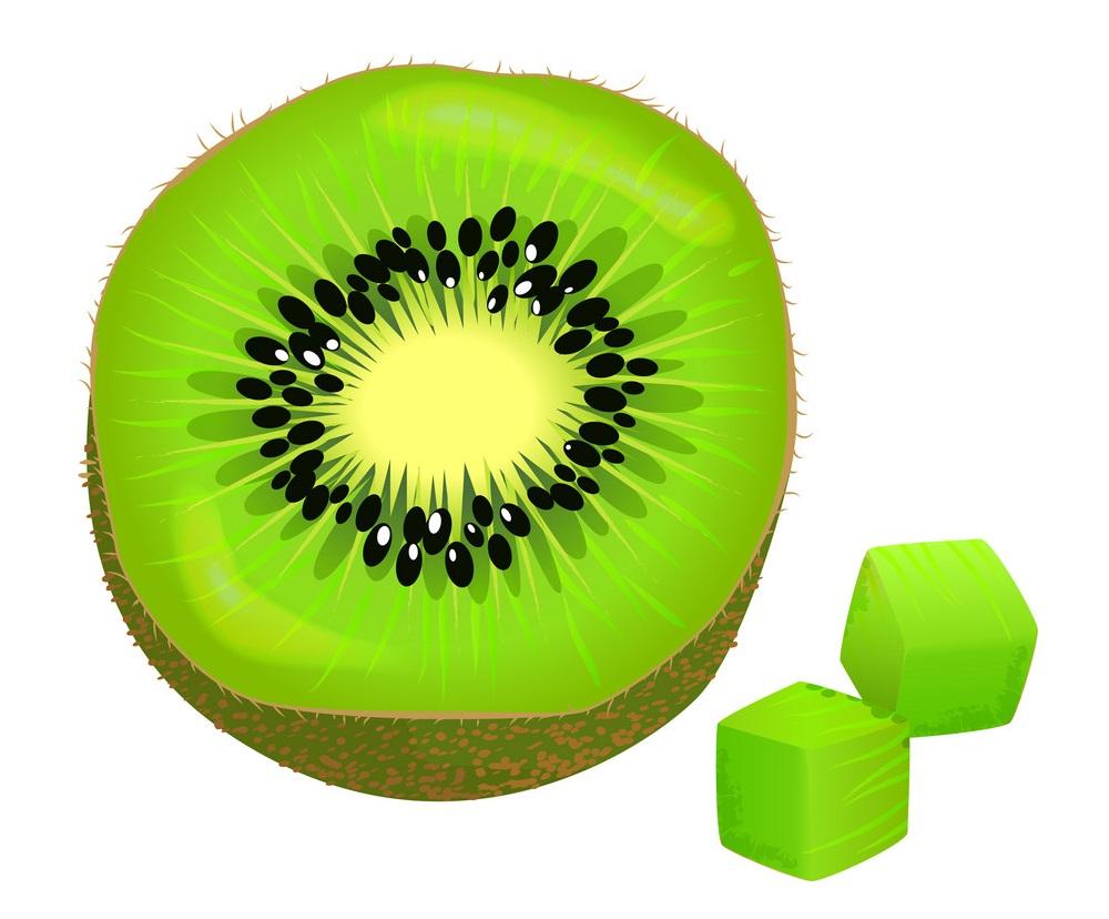 slice on half and diced kiwi