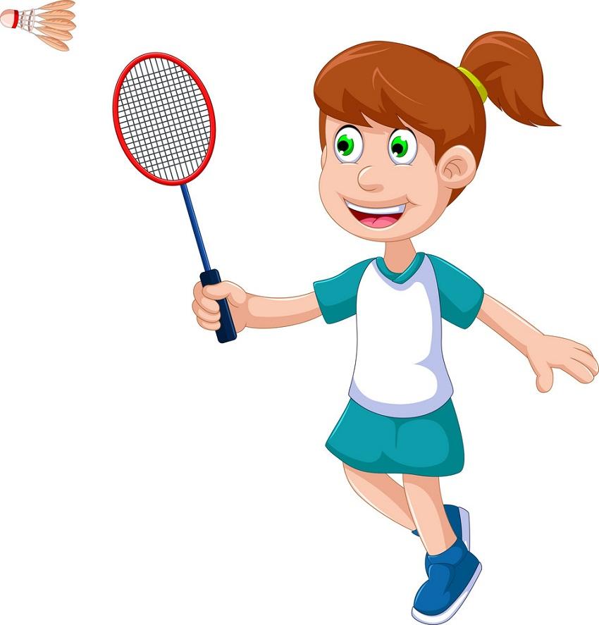 smiling girl playing badminton