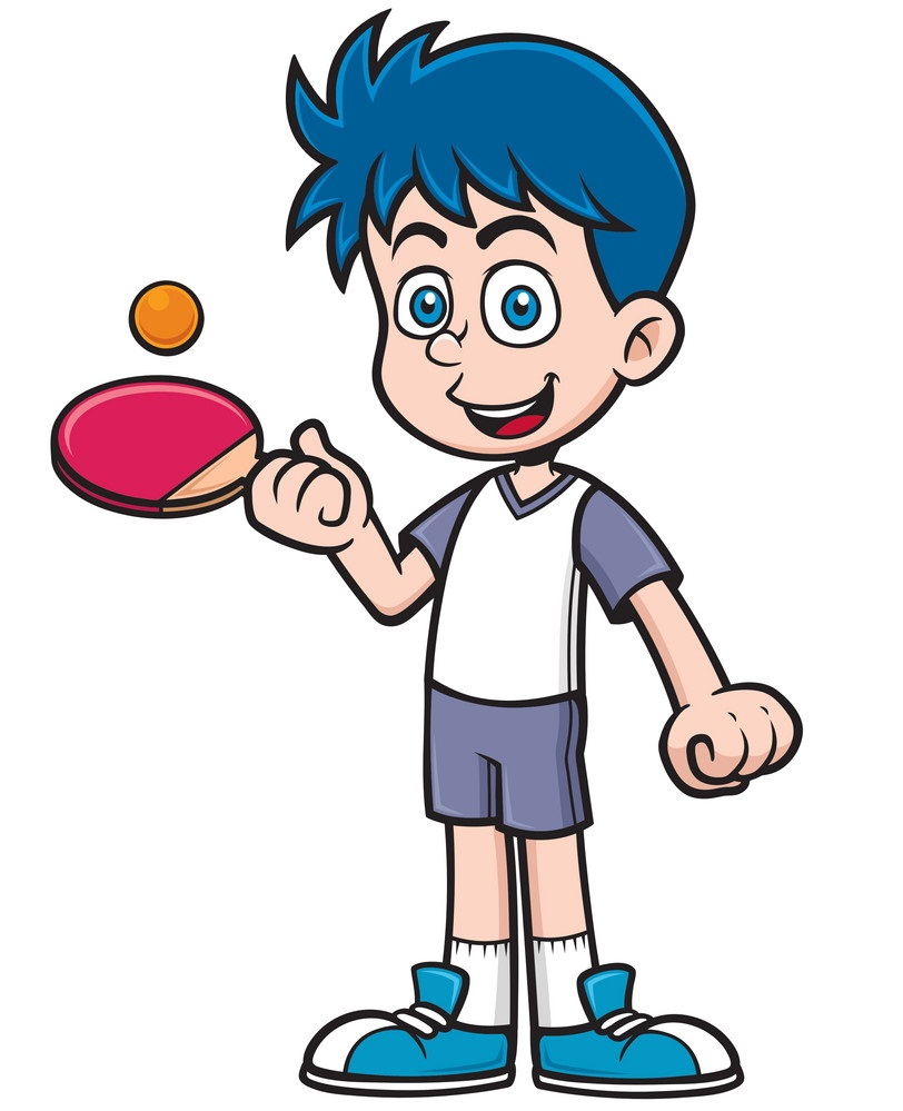 smiling kid playing table tennis