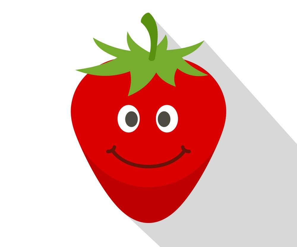 smiling strawberry icon
