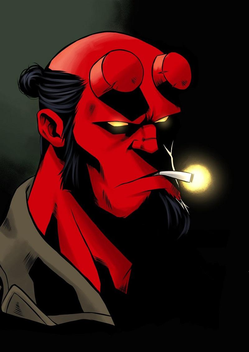 smoking hellboy