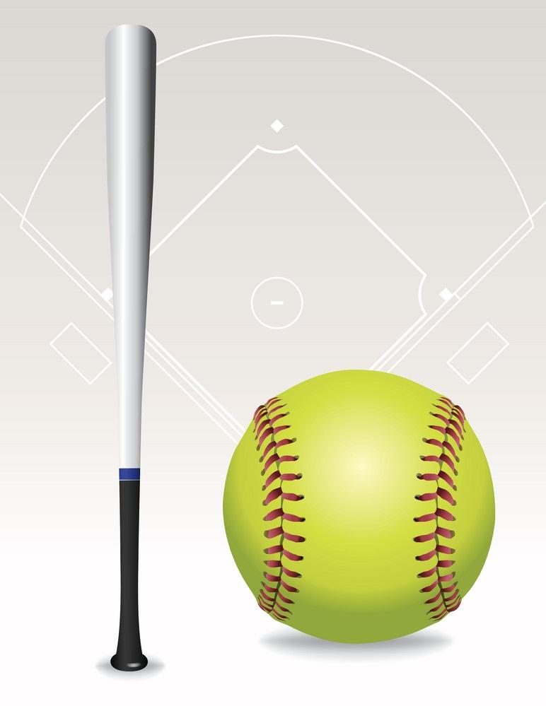 softball ball and bat