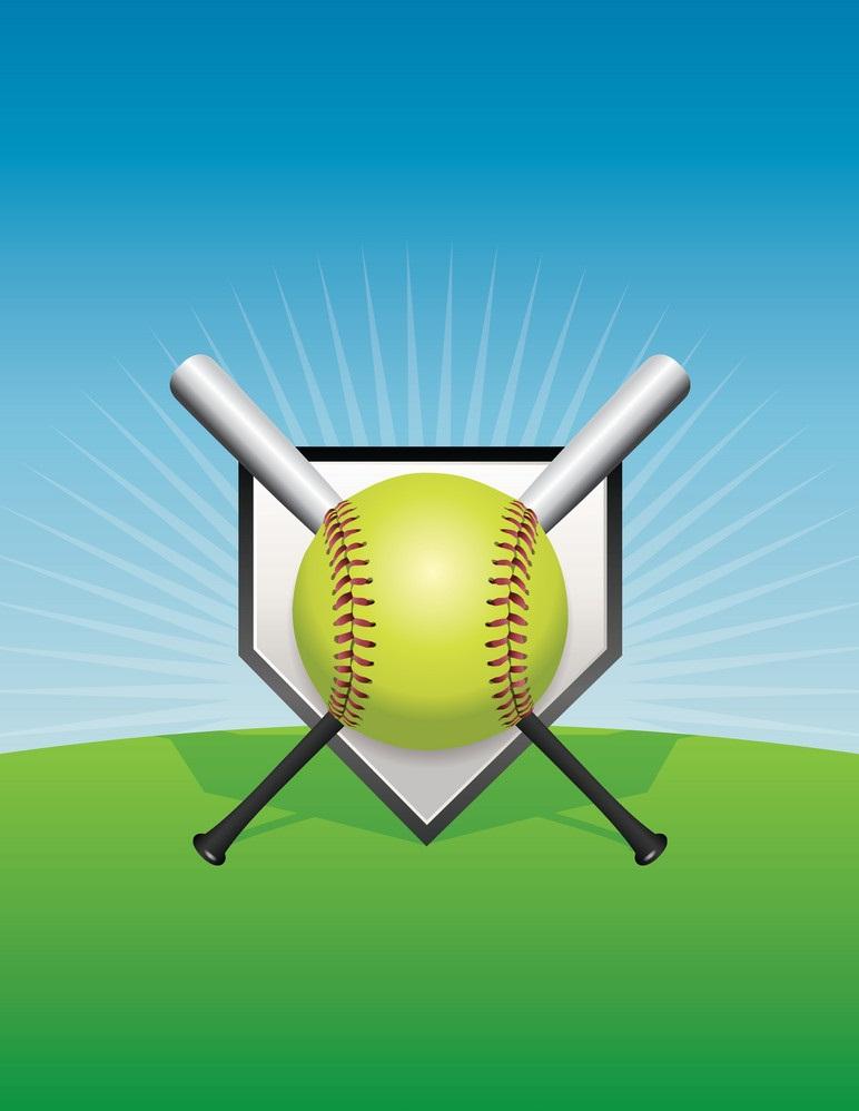 softball ball and bats