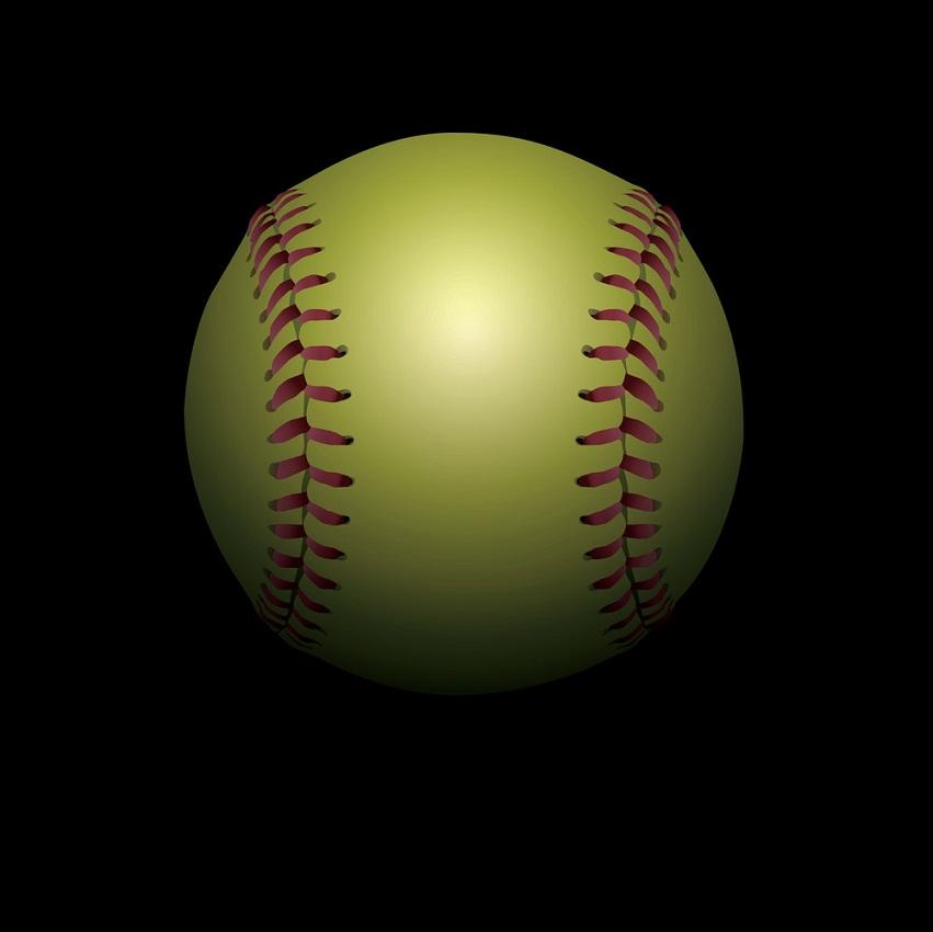 softball ball on black background