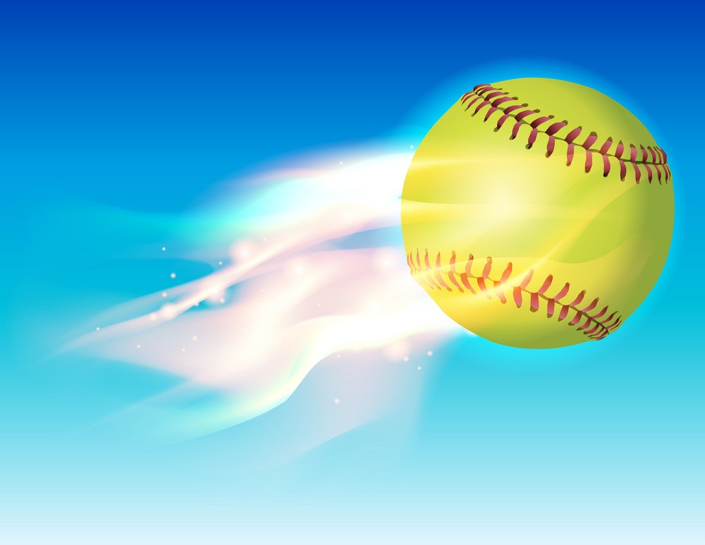 softball ball on fire in the sky