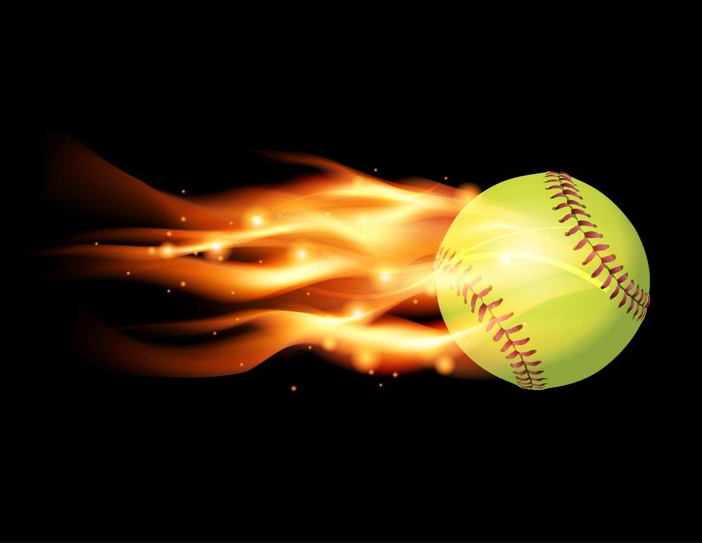 softball ball on fire