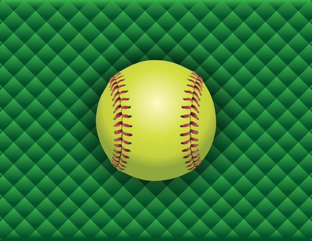softball on checkered background