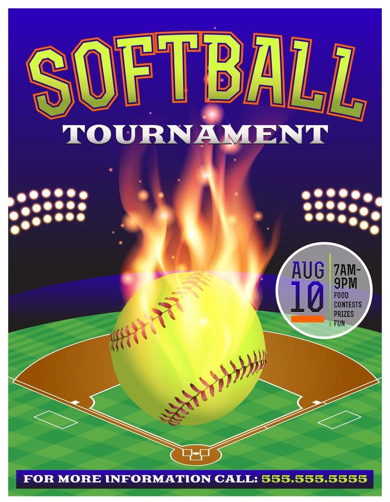softball on fire tournament flyer