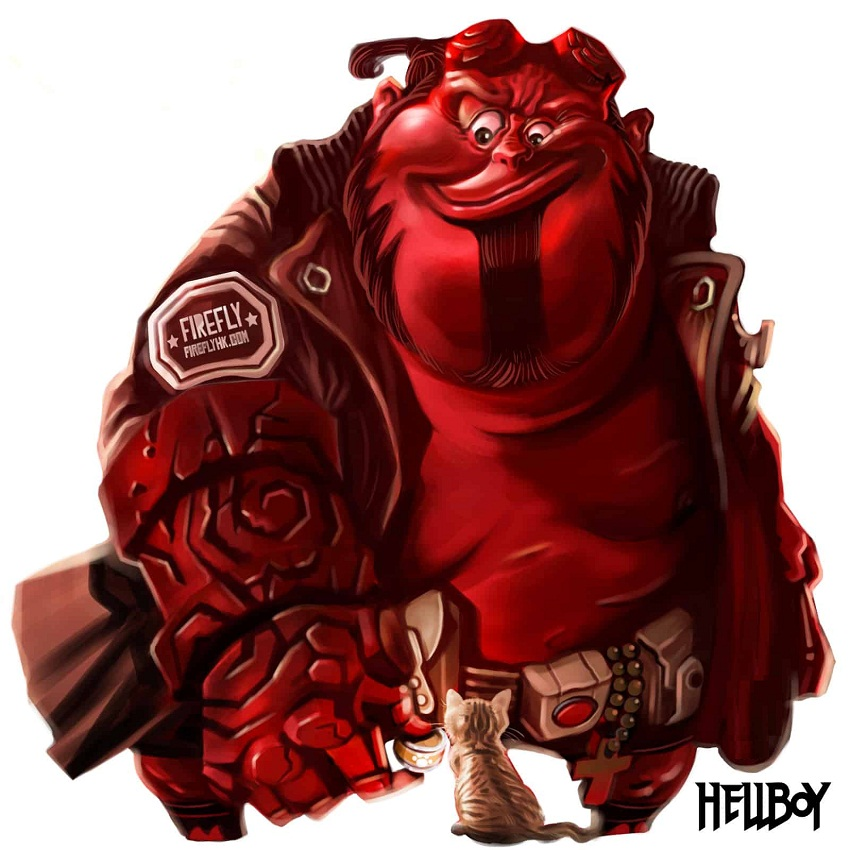 super fat hellboy with a cat