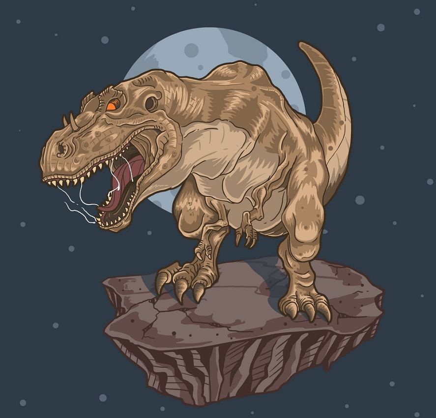 t-rex on a rock