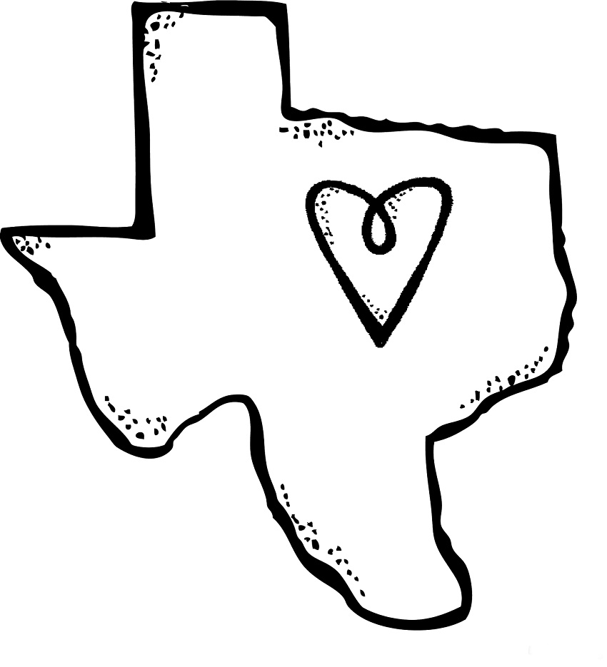 texas outline with heart