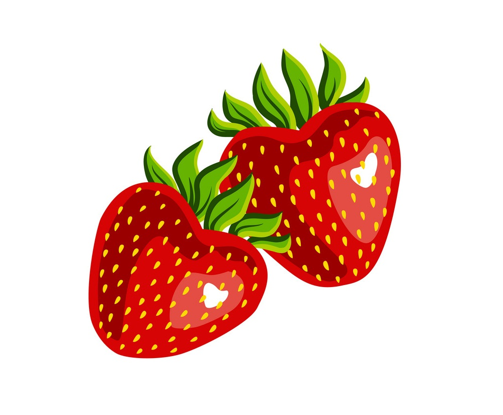 two fresh strawberries