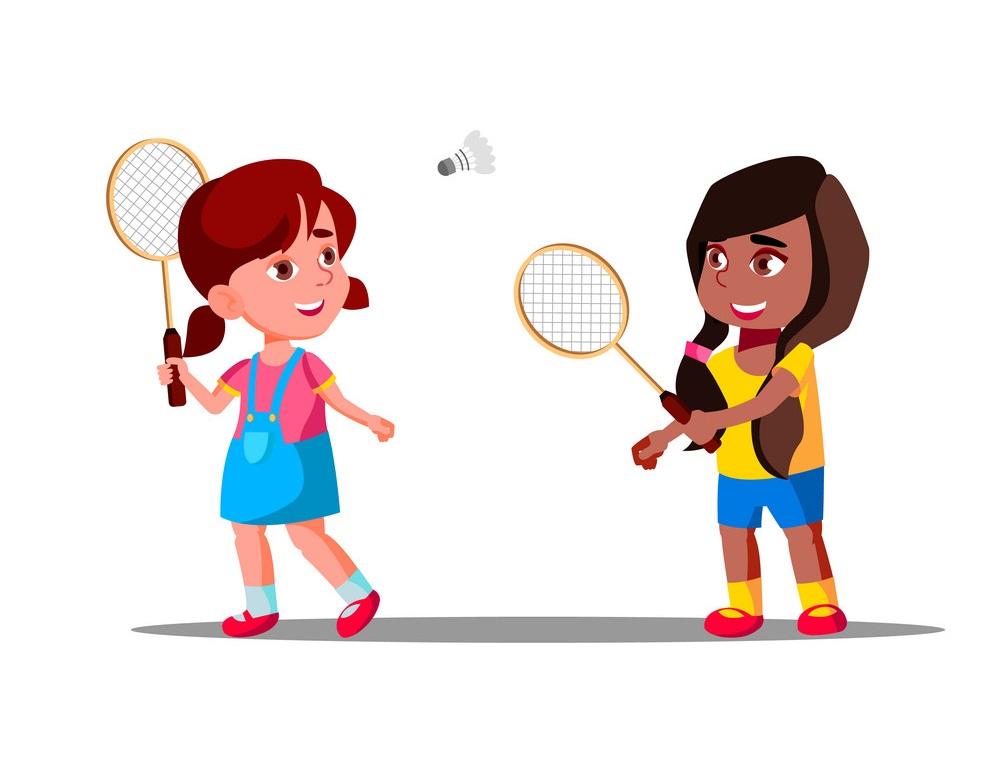 two girls playing badminton