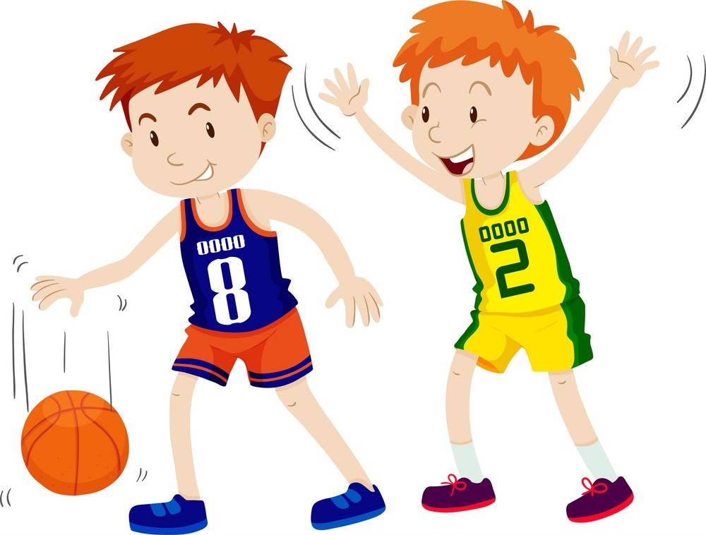 two kids playing basketball