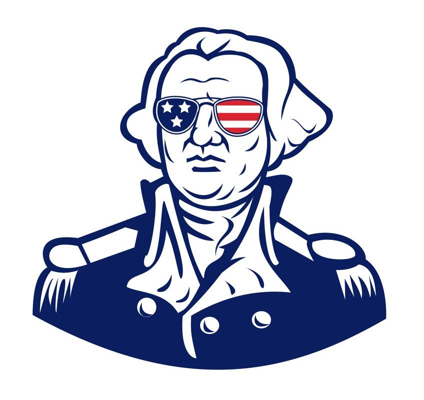 washington wearing sunglasses usa flag