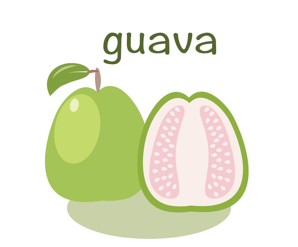whole and half guava flat design