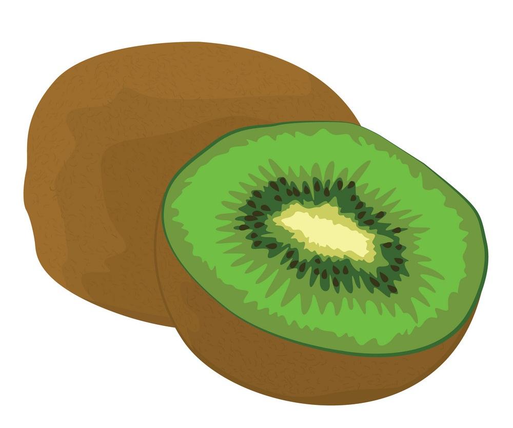 whole and half kiwi fruit