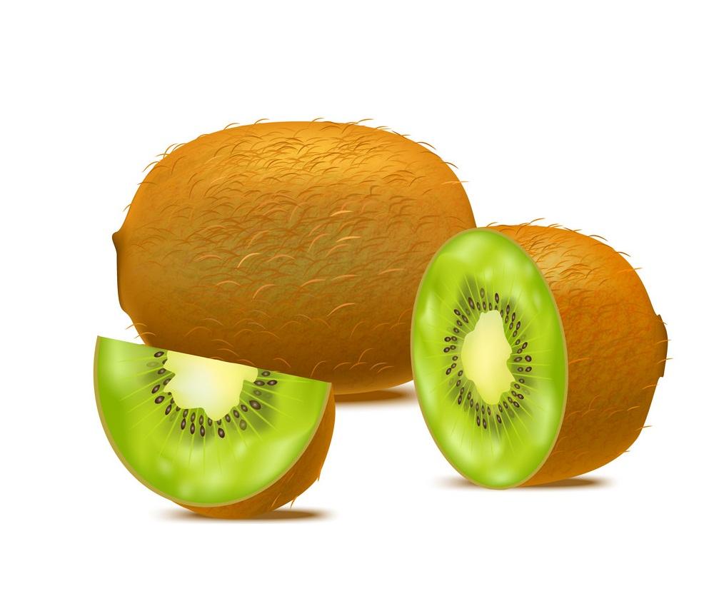 whole and half kiwi with a slice