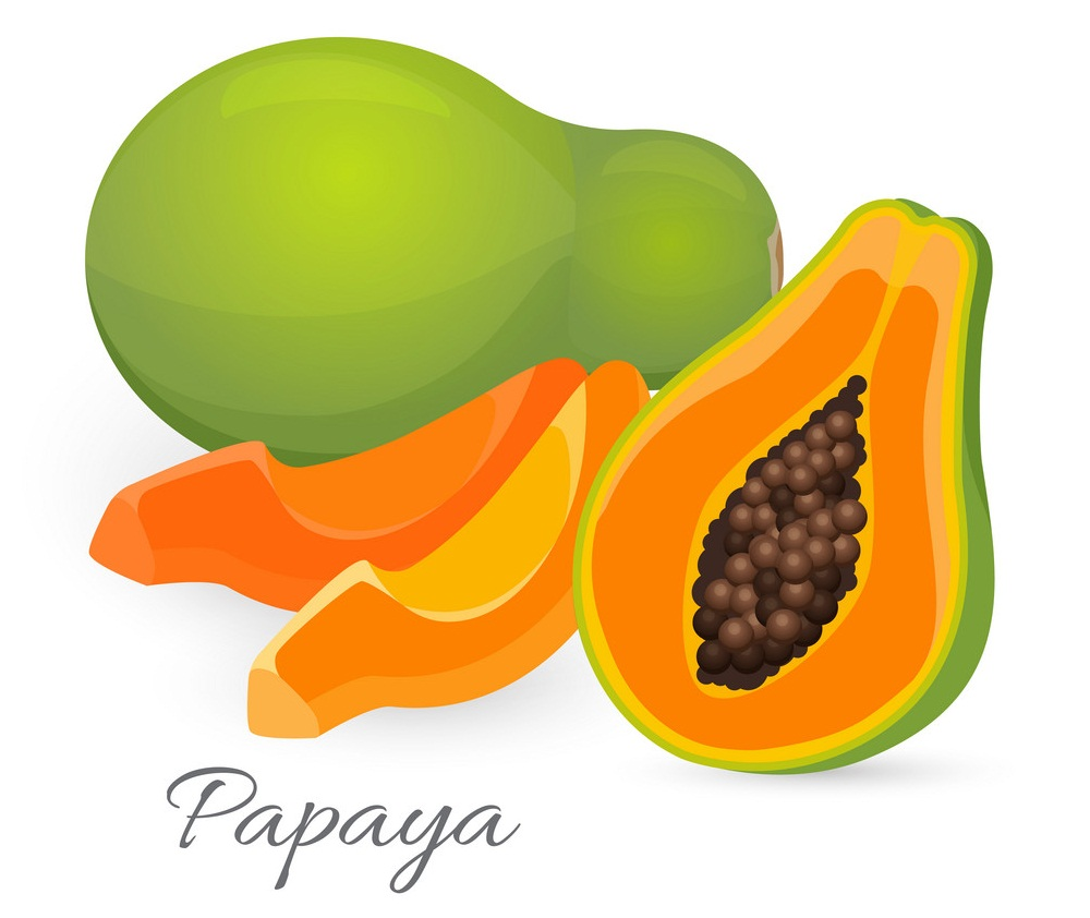 whole and half papaya with slices
