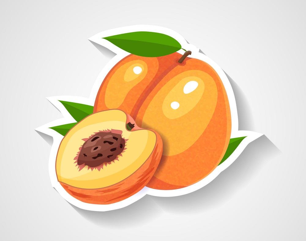 whole and half peach sticker