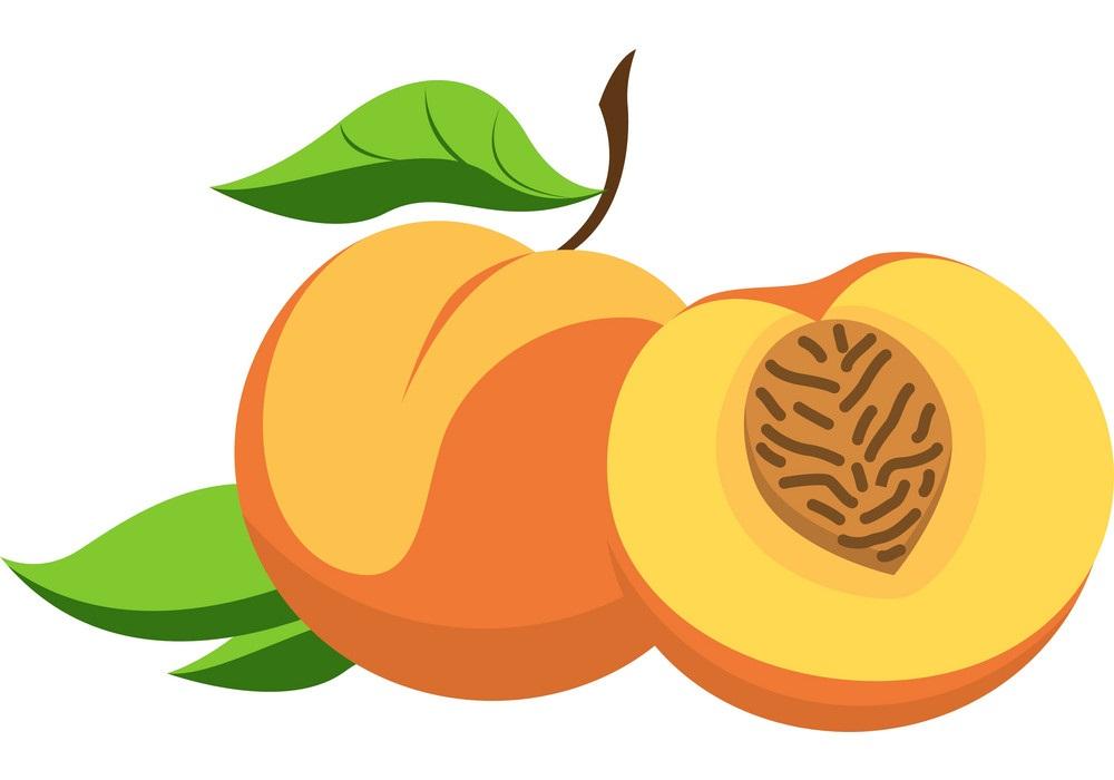 whole and half peach