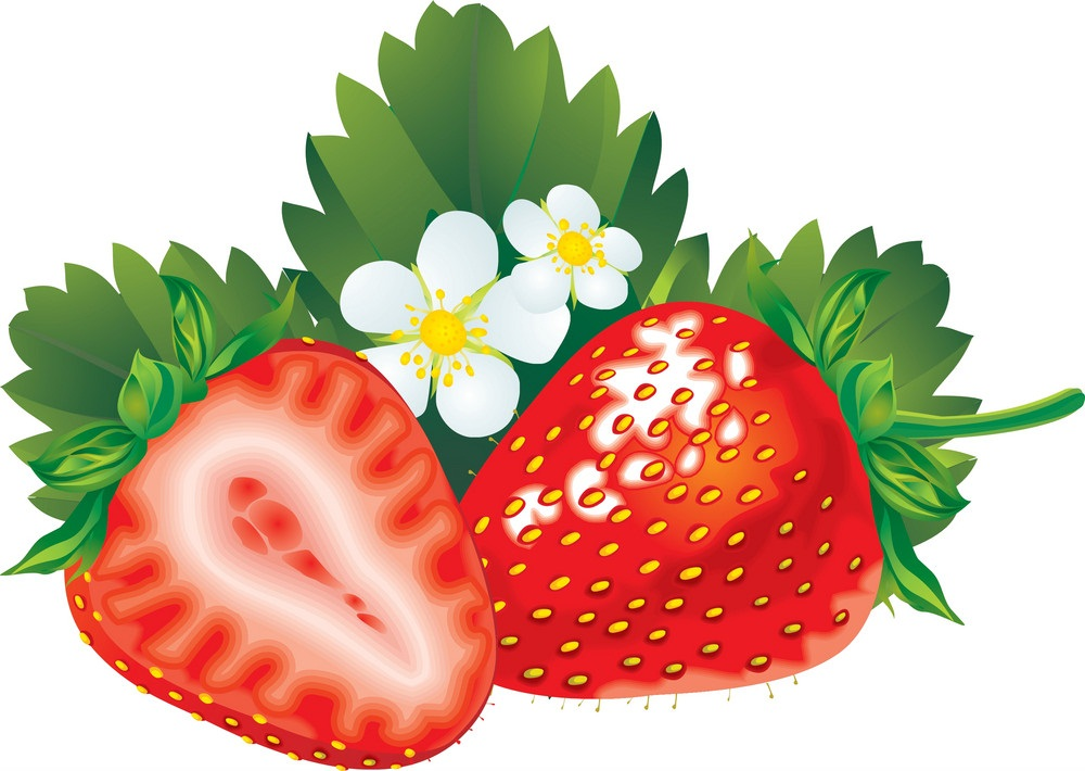 whole and half strawberry