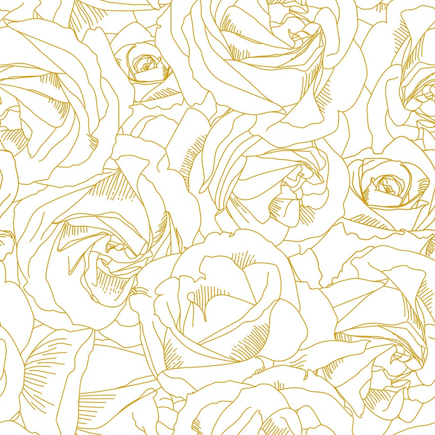yellow roses outline