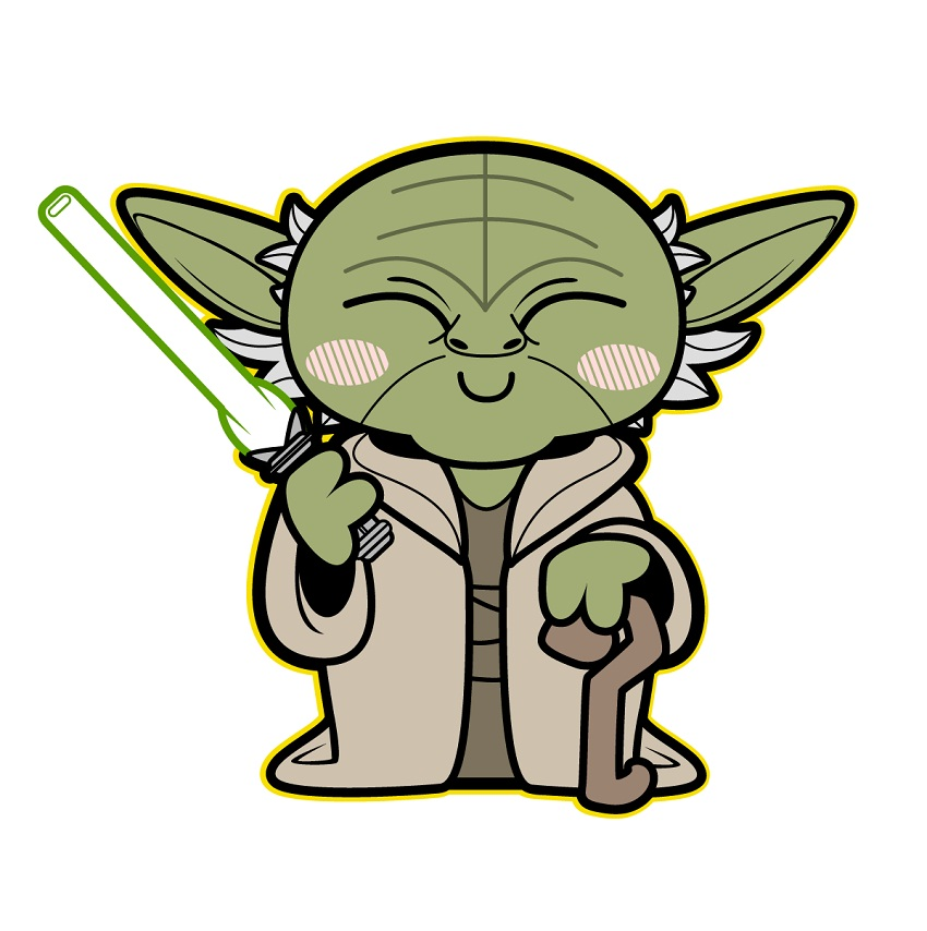 yoda smiling with lightsaber