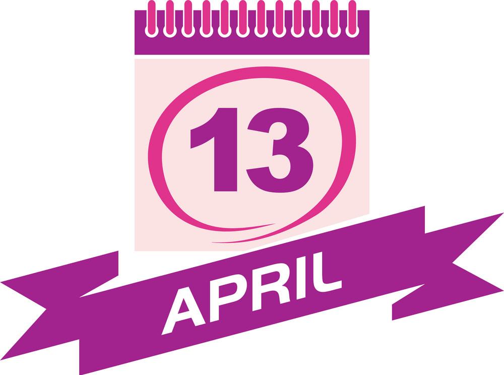 13 april calendar with ribbon png