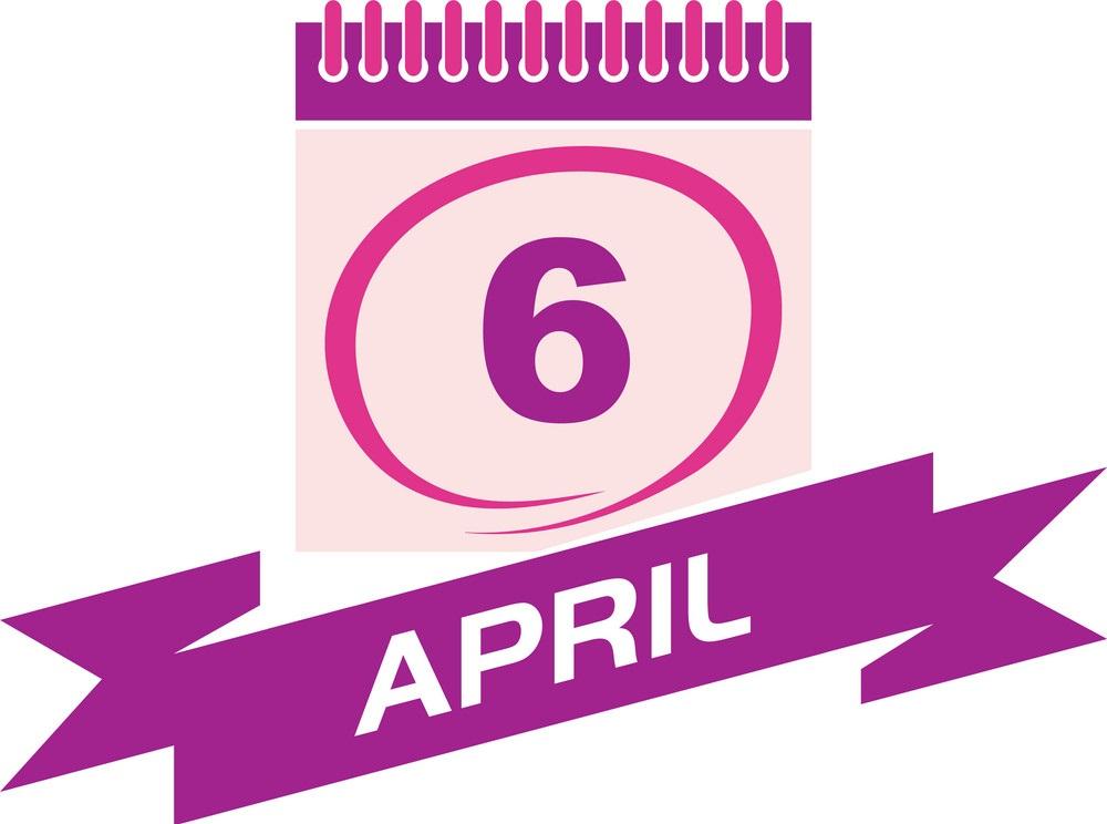6 april calendar with ribbon