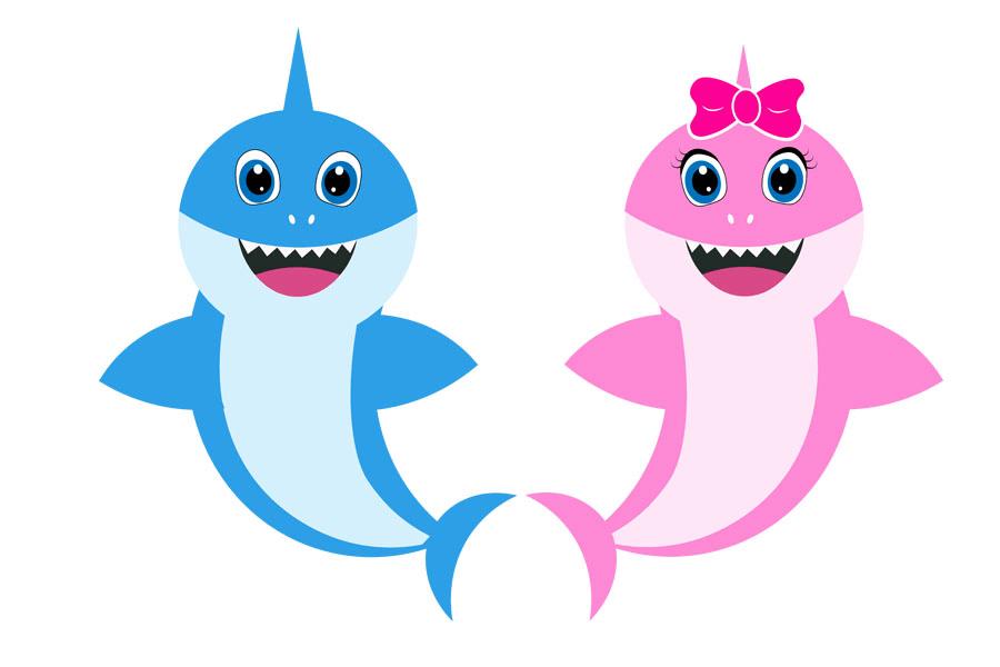 Dady Shark and Mommy Shark clipart