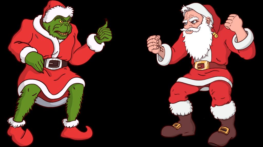 Santa vs Grinch clipart