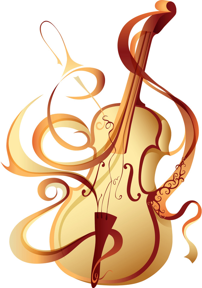 abstract musical instrument gold violin png