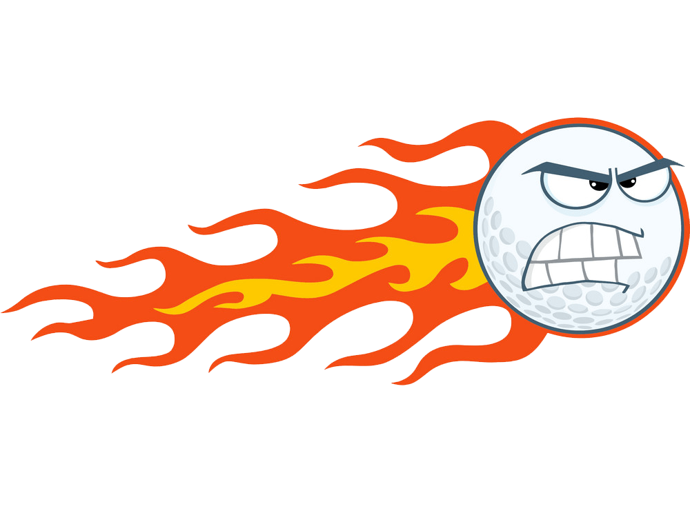 angry flaming golf ball png transparent