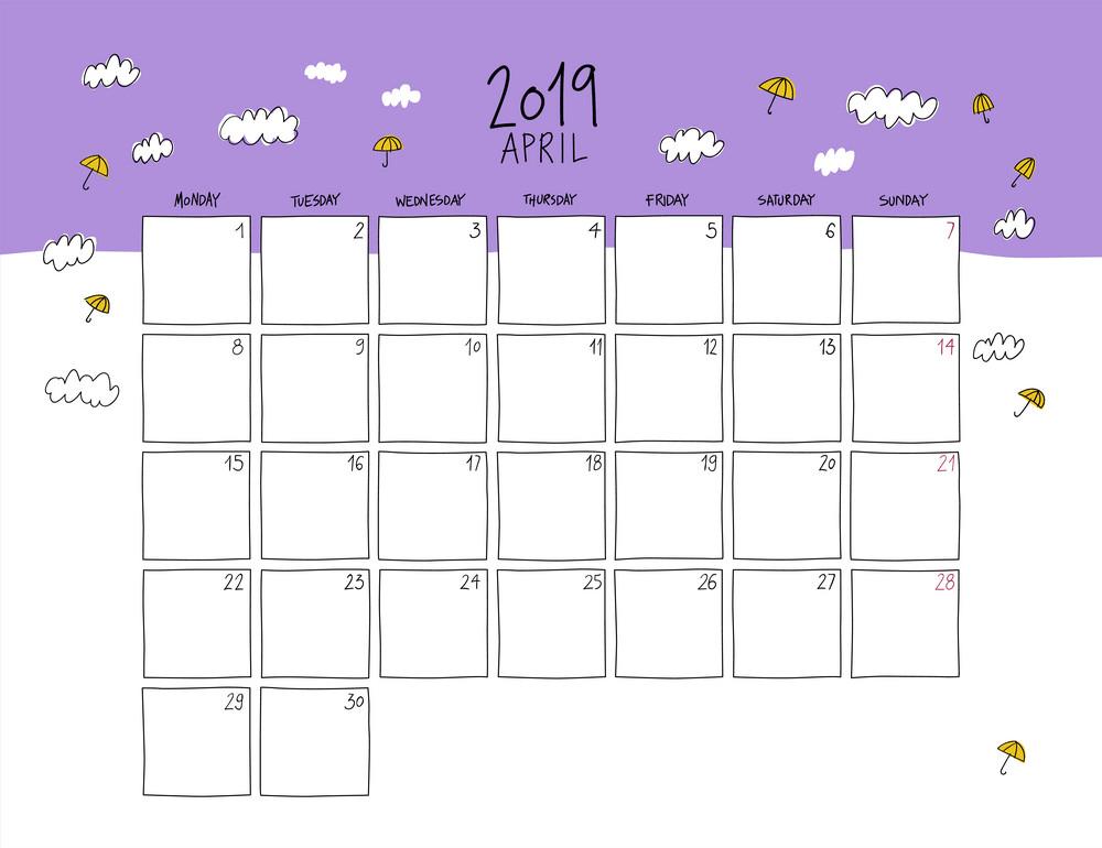 april 2019 wall calendar doodle style png