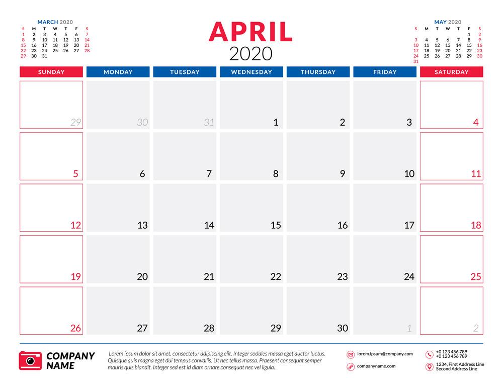 april 2020 calendar planner png