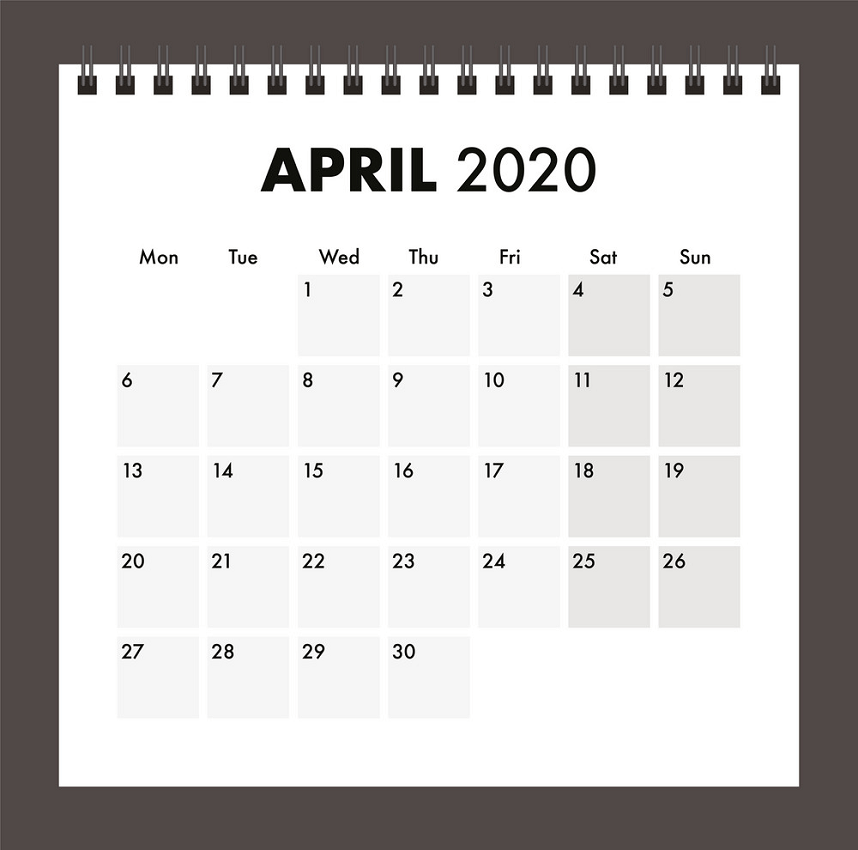 april 2020 calendar with wire band png