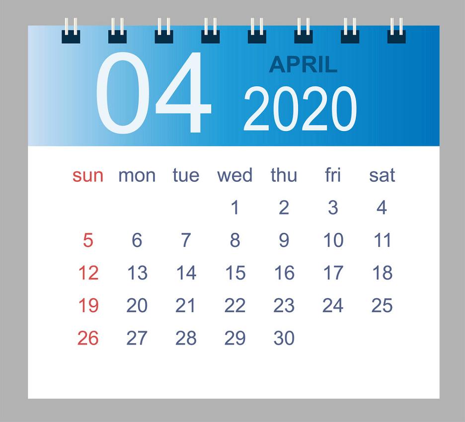 april 2020 monthly calendar png