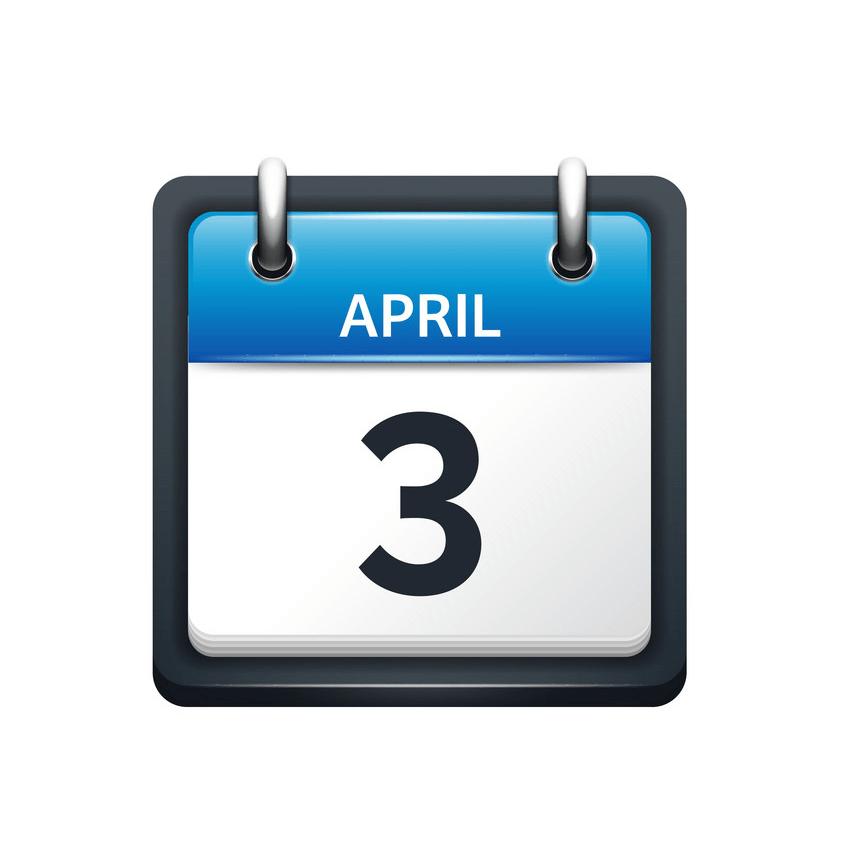 april 3 calendar icon flat png