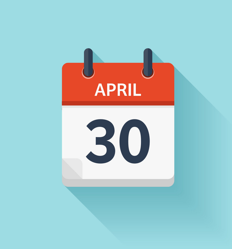 april 30 flat daily calendar icon png