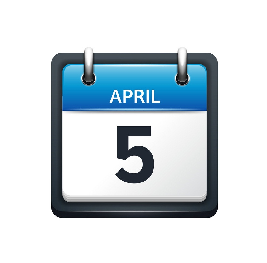 april 5 calendar icon flat
