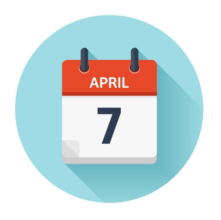 april 7 flat daily calendar icon