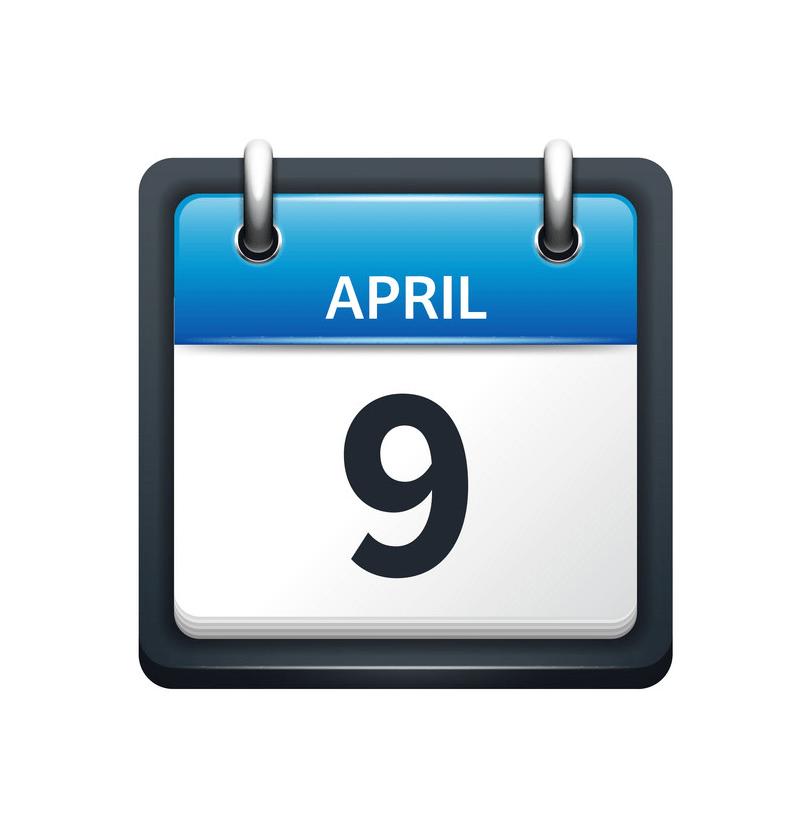 april 9 calendar icon flat png