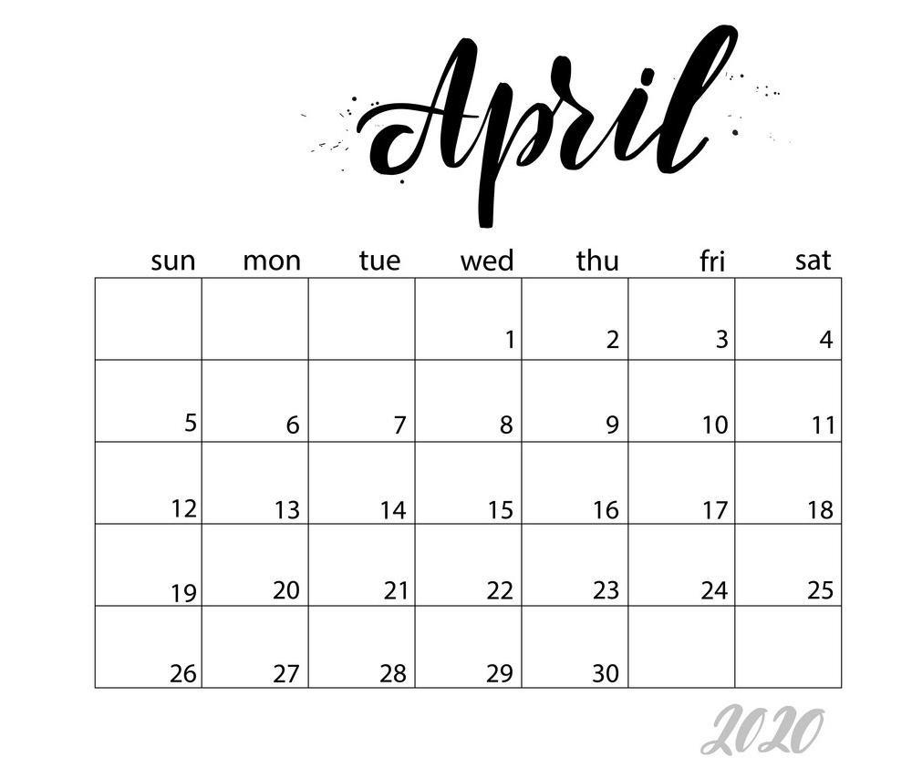 april monthly calendar png